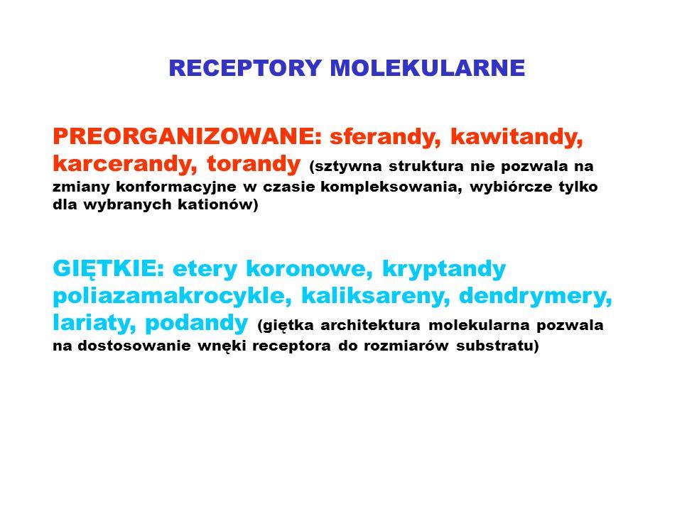 RECEPTORY MOLEKULARNE PREORGANIZOWANE: sferandy, kawitandy, karcerandy, torandy (sztywna struktura nie pozwala na zmiany konformacyjne w czasie kompleksowania, wybiórcze tylko dla wybranych kationów) GIĘTKIE: etery koronowe, kryptandy poliazamakrocykle, kaliksareny, dendrymery, lariaty, podandy (giętka architektura molekularna pozwala na dostosowanie wnęki receptora do rozmiarów substratu)
