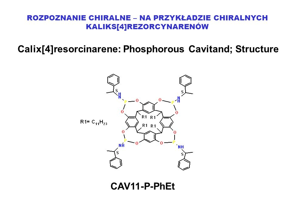 ROZPOZNANIE CHIRALNE – NA PRZYKŁADZIE CHIRALNYCH KALIKS[4]REZORCYNARENÓW Calix[4]resorcinarene: Phosphorous Cavitand; Structure CAV11-P-PhEt