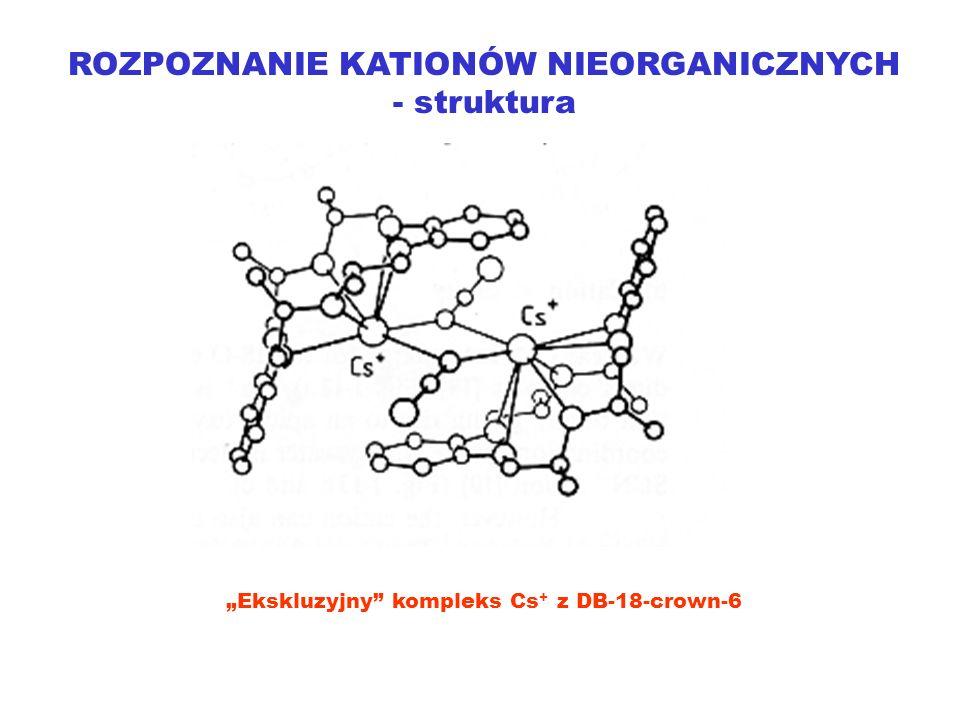 ROZPOZNANIE KATIONÓW NIEORGANICZNYCH - struktura Ekskluzyjny kompleks Cs + z DB-18-crown-6