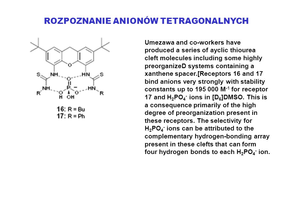 ROZPOZNANIE ANIONÓW TETRAGONALNYCH Umezawa and co-workers have produced a series of ayclic thiourea cleft molecules including some highly preorganizeD