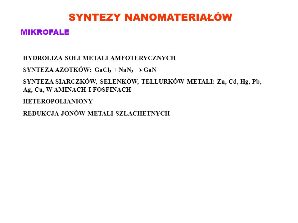 SYNTEZY NANOMATERIAŁÓW MIKROFALE HYDROLIZA SOLI METALI AMFOTERYCZNYCH SYNTEZA AZOTKÓW: GaCl 3 + NaN 3 GaN SYNTEZA SIARCZKÓW, SELENKÓW, TELLURKÓW METAL