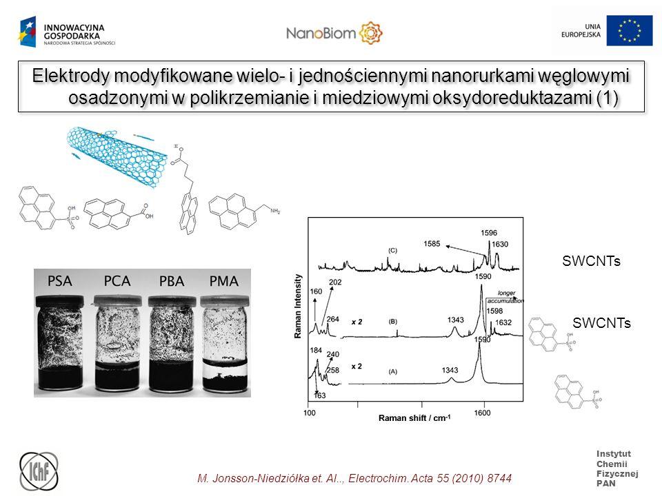 Instytut Chemii Fizycznej PAN Elektrody modyfikowane wielo- i jednościennymi nanorurkami węglowymi osadzonymi w polikrzemianie i miedziowymi oksydored
