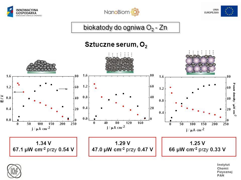 Instytut Chemii Fizycznej PAN biokatody do ogniwa O 2 - Zn 1.34 V 67.1 μW cm -2 przy 0.54 V 1.29 V 47.0 μW cm -2 przy 0.47 V 1.25 V 66 μW cm -2 przy 0