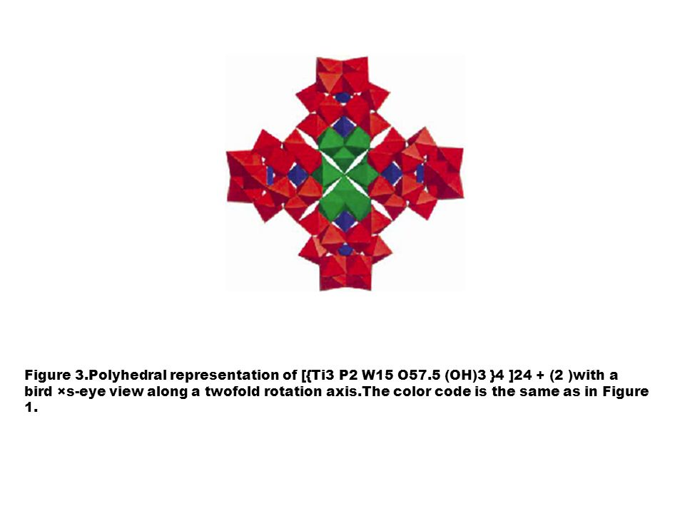 Figure 5.Polyhedral representation of [{Ti3 P2 W15 O57.5 (OH)3 }4 ]24 (2 )with a view along a mirror plane.The color code is the same as in Figure 1.