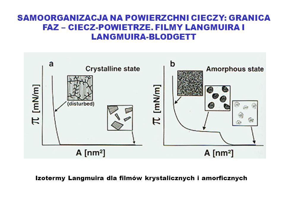 SAMOORGANIZACJA NA POWIERZCHNI CIECZY: GRANICA FAZ – CIECZ-POWIETRZE. FILMY LANGMUIRA I LANGMUIRA-BLODGETT Izotermy Langmuira dla filmów krystalicznyc