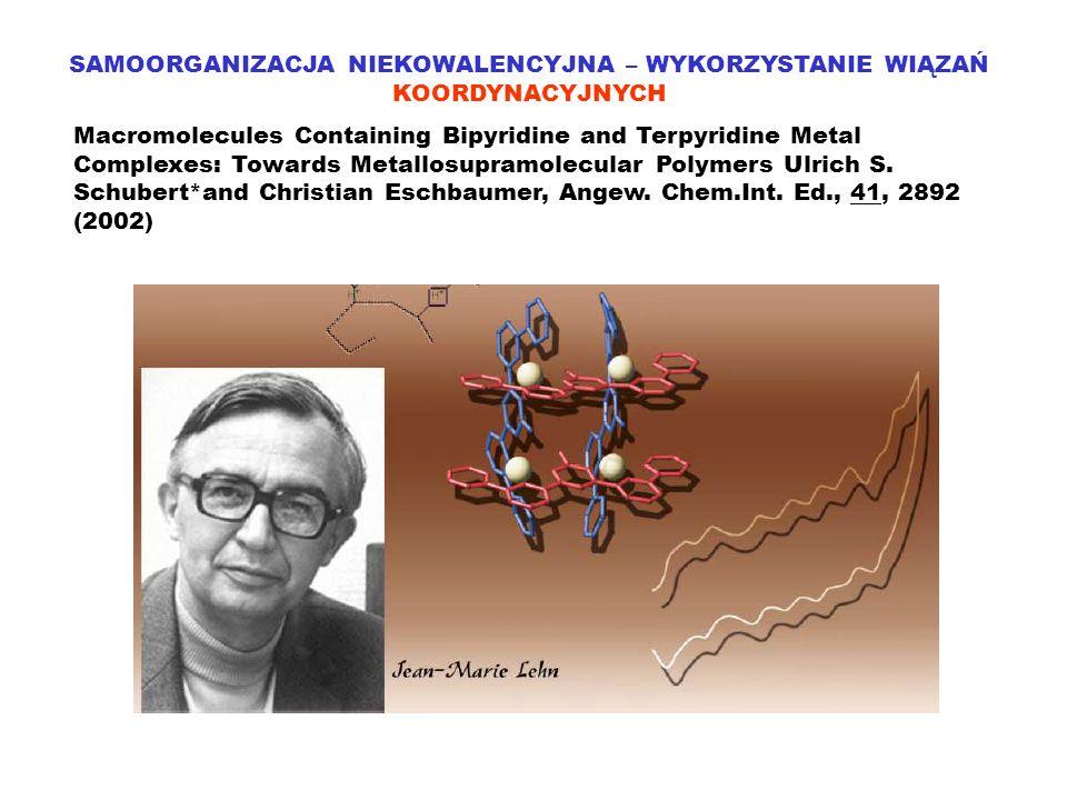 SAMOORGANIZACJA NIEKOWALENCYJNA – WYKORZYSTANIE WIĄZAŃ KOORDYNACYJNYCH Macromolecules Containing Bipyridine and Terpyridine Metal Complexes: Towards M