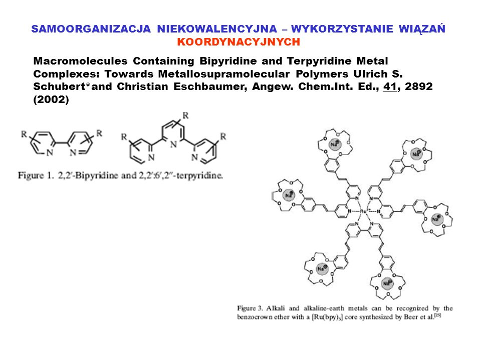 SAMOORGANIZACJA NIEKOWALENCYJNA – WYKORZYSTANIE WIĄZAŃ KOORDYNACYJNYCH Macromolecules Containing Bipyridine and Terpyridine Metal Complexes: Towards Metallosupramolecular Polymers Ulrich S.