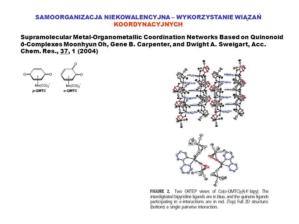 SAMOORGANIZACJA NIEKOWALENCYJNA – WYKORZYSTANIE WIĄZAŃ KOORDYNACYJNYCH Supramolecular Metal-Organometallic Coordination Networks Based on Quinonoid ð-Complexes Moonhyun Oh, Gene B.