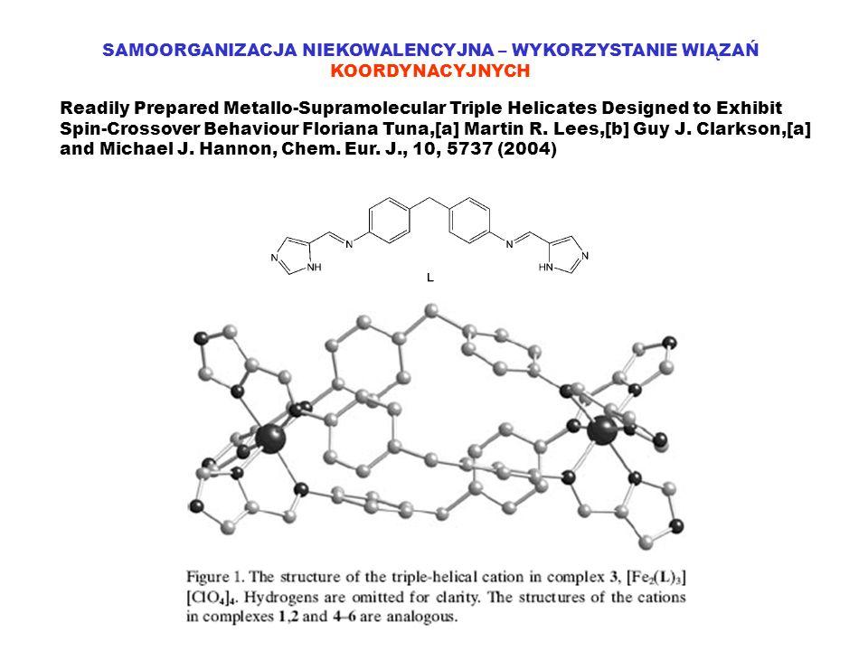 SAMOORGANIZACJA NIEKOWALENCYJNA – WYKORZYSTANIE WIĄZAŃ KOORDYNACYJNYCH Readily Prepared Metallo-Supramolecular Triple Helicates Designed to Exhibit Sp