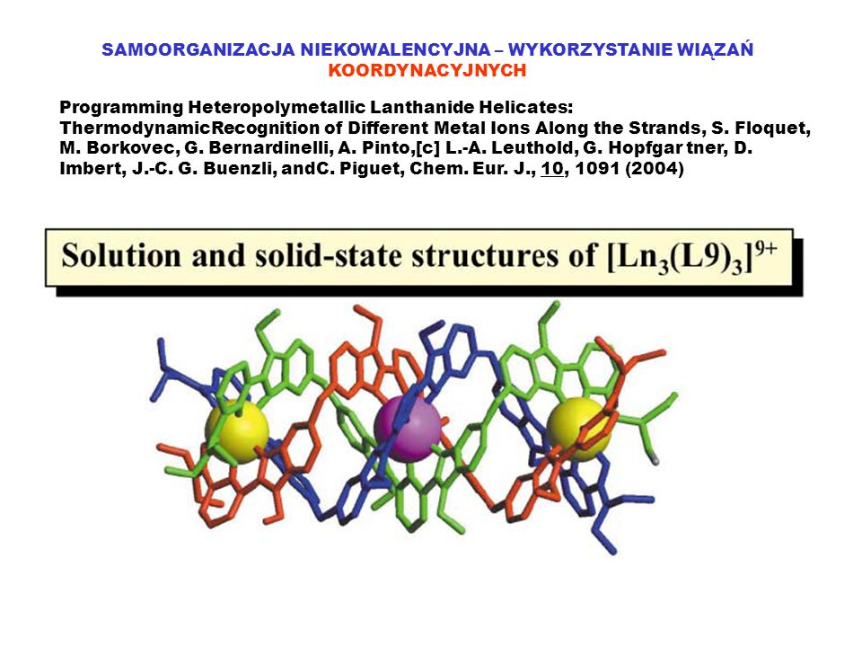 SAMOORGANIZACJA NIEKOWALENCYJNA – WYKORZYSTANIE WIĄZAŃ KOORDYNACYJNYCH Programming Heteropolymetallic Lanthanide Helicates: ThermodynamicRecognition of Different Metal Ions Along the Strands, S.
