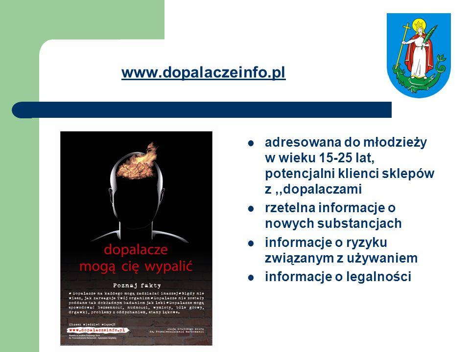 www.dopalaczeinfo.pl adresowana do młodzieży w wieku 15-25 lat, potencjalni klienci sklepów z,,dopalaczami rzetelna informacje o nowych substancjach i
