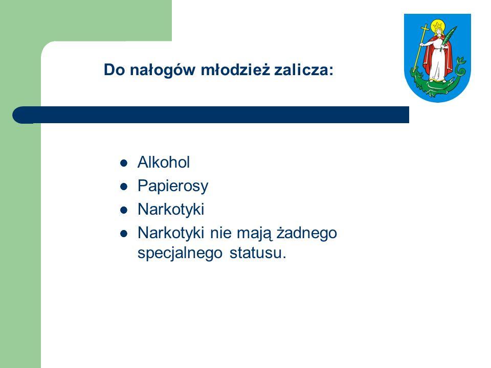 Do nałogów młodzież zalicza: Alkohol Papierosy Narkotyki Narkotyki nie mają żadnego specjalnego statusu.