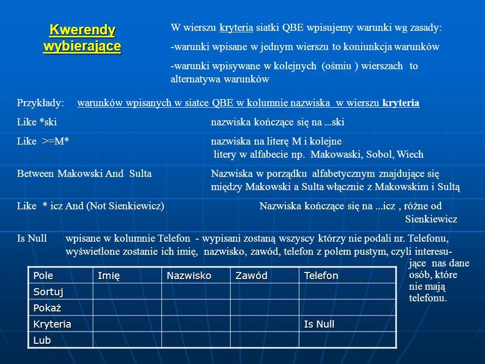 Kwerendy wybierające W wierszu kryteria siatki QBE wpisujemy warunki wg zasady: -warunki wpisane w jednym wierszu to koniunkcja warunków -warunki wpis