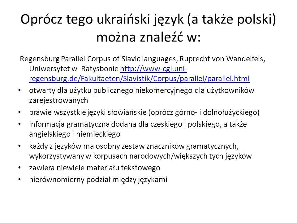 Oprócz tego ukraiński język (a także polski) można znaleźć w: Regensburg Parallel Corpus of Slavic languages, Ruprecht von Wandelfels, Uniwersytet w R