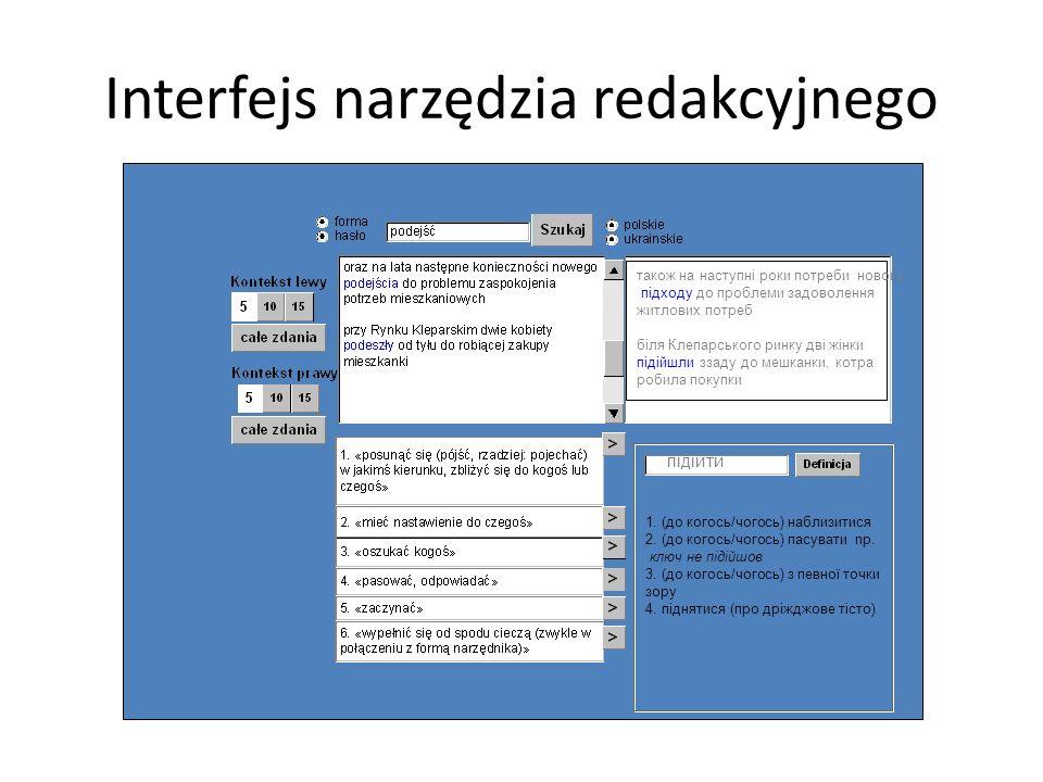 Interfejs narzędzia redakcyjnego підійти 1. (до когось/чогось) наблизитися 2. (до когось/чогось) пасувати np. ключ не підійшов 3. (до когось/чогось) з