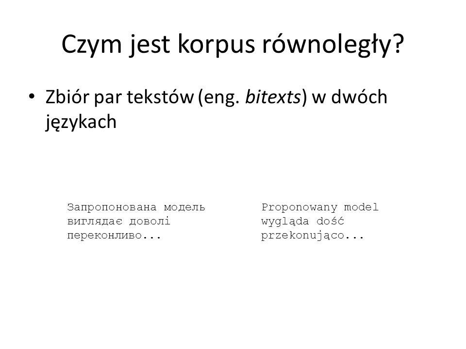 Czym jest korpus równoległy? Zbiór par tekstów (eng. bitexts) w dwóch językach Proponowany model wygląda dość przekonująco... Запропонована модель виг