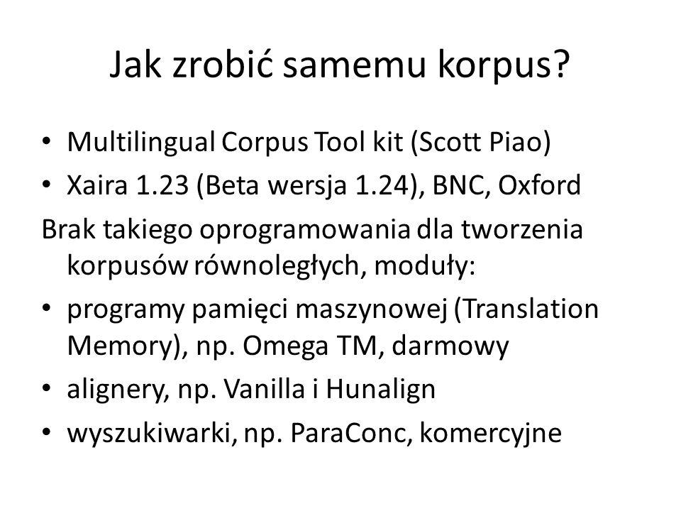 Jak zrobić samemu korpus? Multilingual Corpus Tool kit (Scott Piao) Xaira 1.23 (Beta wersja 1.24), BNC, Oxford Brak takiego oprogramowania dla tworzen
