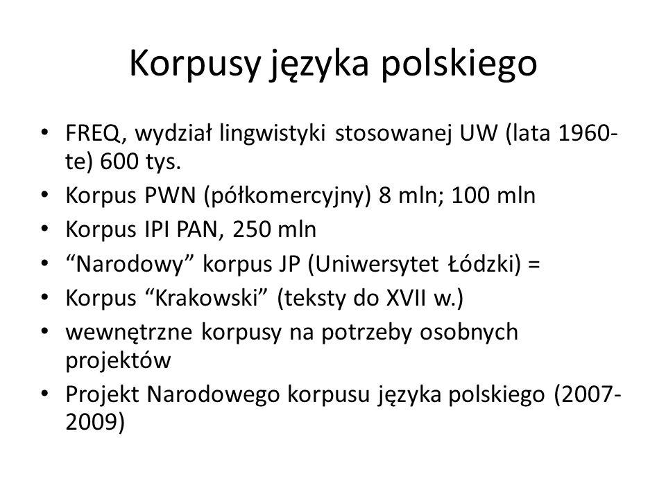 Korpusy języka polskiego FREQ, wydział lingwistyki stosowanej UW (lata 1960- te) 600 tys. Korpus PWN (półkomercyjny) 8 mln; 100 mln Korpus IPI PAN, 25