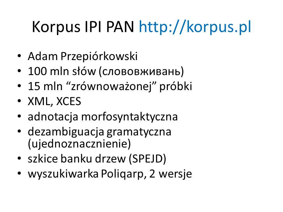 Korpus IPI PAN http://korpus.pl Adam Przepiórkowski 100 mln słów (слововживань) 15 mln zrównoważonej próbki XML, XCES adnotacja morfosyntaktyczna deza