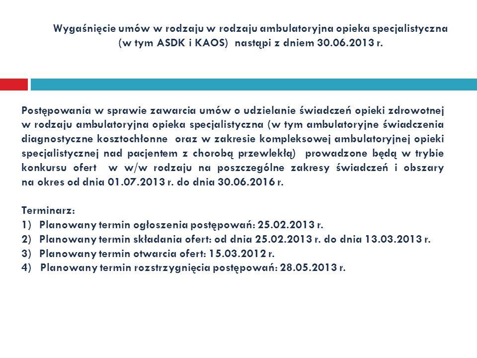 Wygaśnięcie umów w rodzaju w rodzaju ambulatoryjna opieka specjalistyczna (w tym ASDK i KAOS) nastąpi z dniem 30.06.2013 r. Postępowania w sprawie zaw