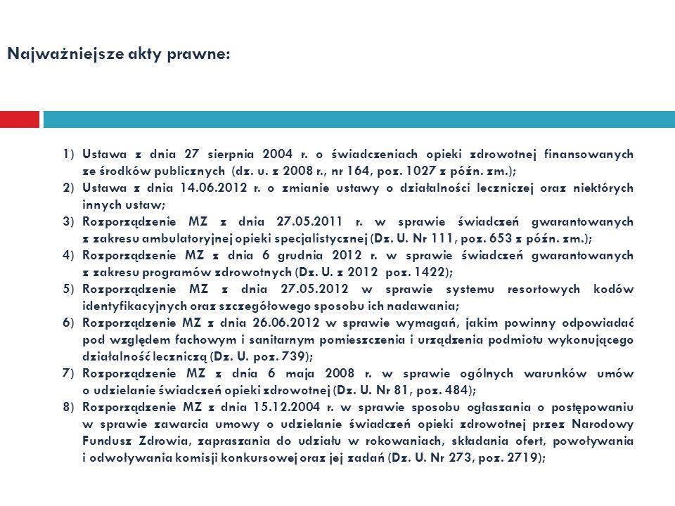 Najważniejsze akty prawne: 1)Ustawa z dnia 27 sierpnia 2004 r. o świadczeniach opieki zdrowotnej finansowanych ze środków publicznych (dz. u. z 2008 r