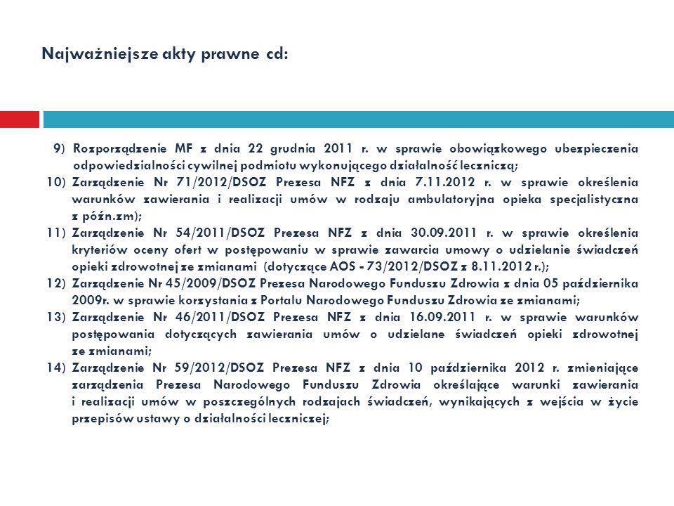 Najważniejsze akty prawne cd: 9)Rozporządzenie MF z dnia 22 grudnia 2011 r. w sprawie obowiązkowego ubezpieczenia odpowiedzialności cywilnej podmiotu