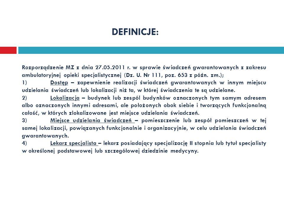 DEFINICJE: Rozporządzenie MZ z dnia 27.05.2011 r. w sprawie świadczeń gwarantowanych z zakresu ambulatoryjnej opieki specjalistycznej (Dz. U. Nr 111,