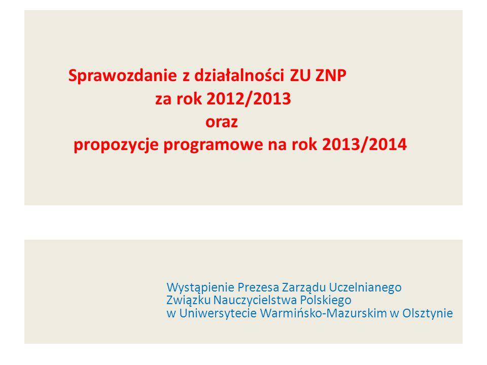 Działalność ZU ZNP w okresie 2012/2013 1.Działalność organizacyjna ZU ZNP w UWM 2.