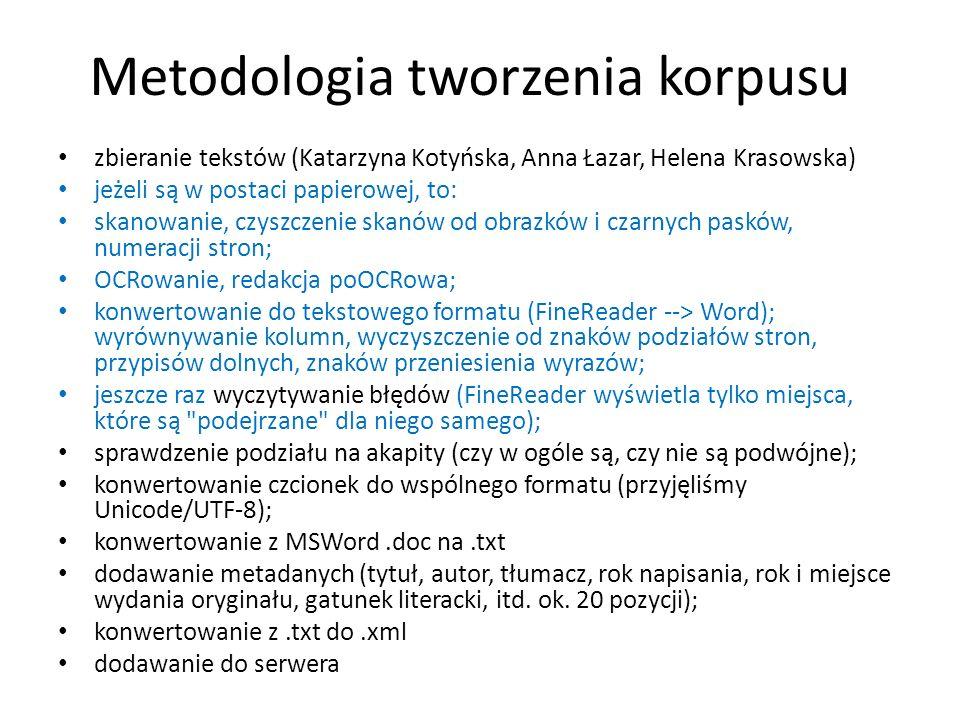 Metodologia tworzenia korpusu zbieranie tekstów (Katarzyna Kotyńska, Anna Łazar, Helena Krasowska) jeżeli są w postaci papierowej, to: skanowanie, czy