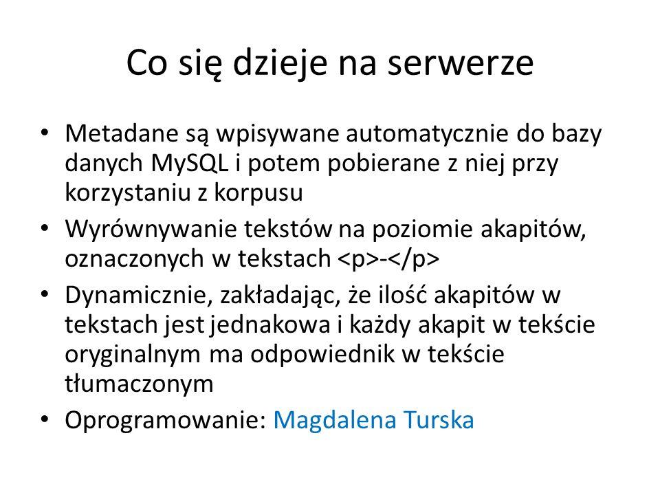 Co się dzieje na serwerze Metadane są wpisywane automatycznie do bazy danych MySQL i potem pobierane z niej przy korzystaniu z korpusu Wyrównywanie te