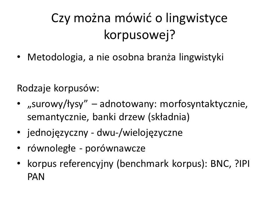 Czy można mówić o lingwistyce korpusowej? Metodologia, a nie osobna branża lingwistyki Rodzaje korpusów: surowy/łysy – adnotowany: morfosyntaktycznie,
