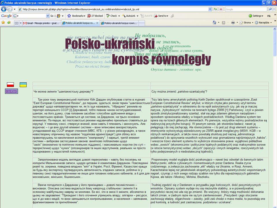 Metodologia tworzenia korpusu zbieranie tekstów (Katarzyna Kotyńska, Anna Łazar, Helena Krasowska) jeżeli są w postaci papierowej, to: skanowanie, czyszczenie skanów od obrazków i czarnych pasków, numeracji stron; OCRowanie, redakcja poOCRowa; konwertowanie do tekstowego formatu (FineReader --> Word); wyrównywanie kolumn, wyczyszczenie od znaków podziałów stron, przypisów dolnych, znaków przeniesienia wyrazów; jeszcze raz wyczytywanie błędów (FineReader wyświetla tylko miejsca, które są podejrzane dla niego samego); sprawdzenie podziału na akapity (czy w ogóle są, czy nie są podwójne); konwertowanie czcionek do wspólnego formatu (przyjęliśmy Unicode/UTF-8); konwertowanie z MSWord.doc na.txt dodawanie metadanych (tytuł, autor, tłumacz, rok napisania, rok i miejsce wydania oryginału, gatunek literacki, itd.