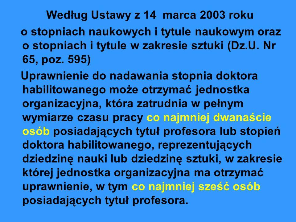 Według Ustawy z 14 marca 2003 roku o stopniach naukowych i tytule naukowym oraz o stopniach i tytule w zakresie sztuki (Dz.U. Nr 65, poz. 595) Uprawni