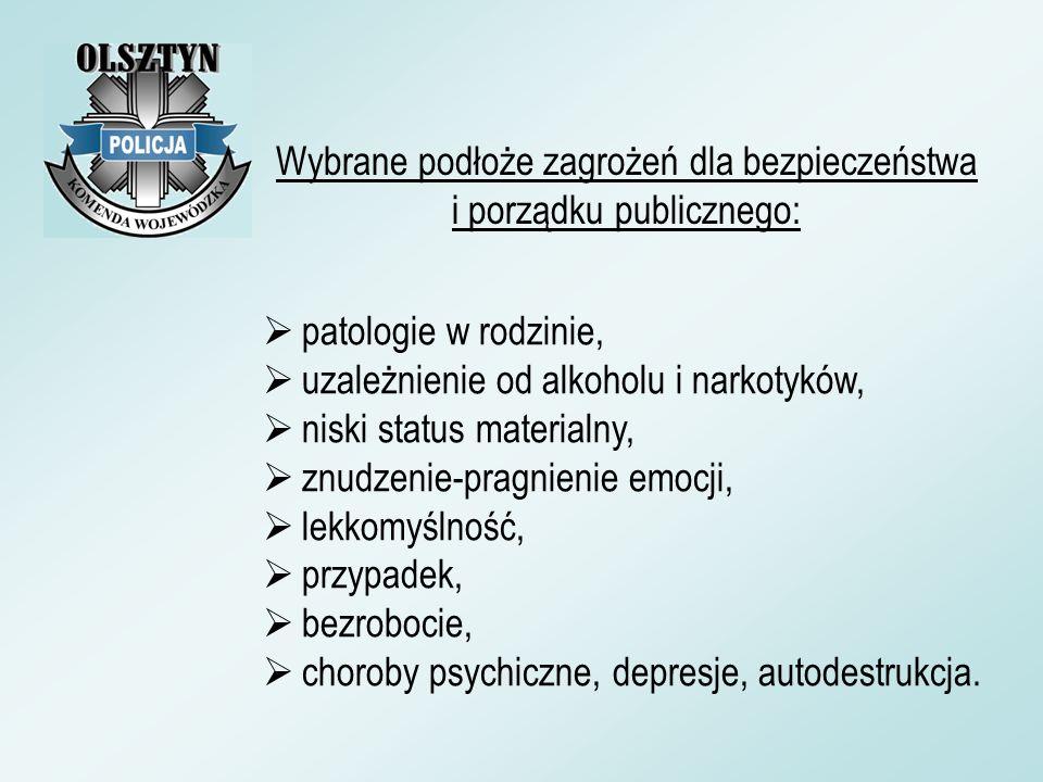 patologie w rodzinie, uzależnienie od alkoholu i narkotyków, niski status materialny, znudzenie-pragnienie emocji, lekkomyślność, przypadek, bezroboci
