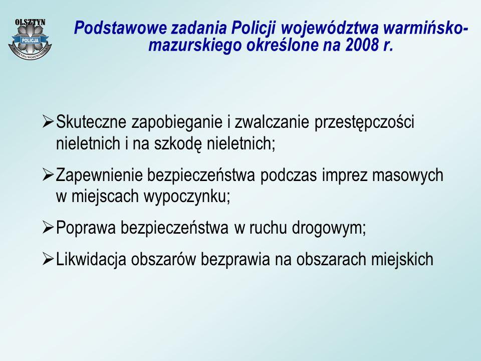 Podstawowe zadania Policji województwa warmińsko- mazurskiego określone na 2008 r. Skuteczne zapobieganie i zwalczanie przestępczości nieletnich i na