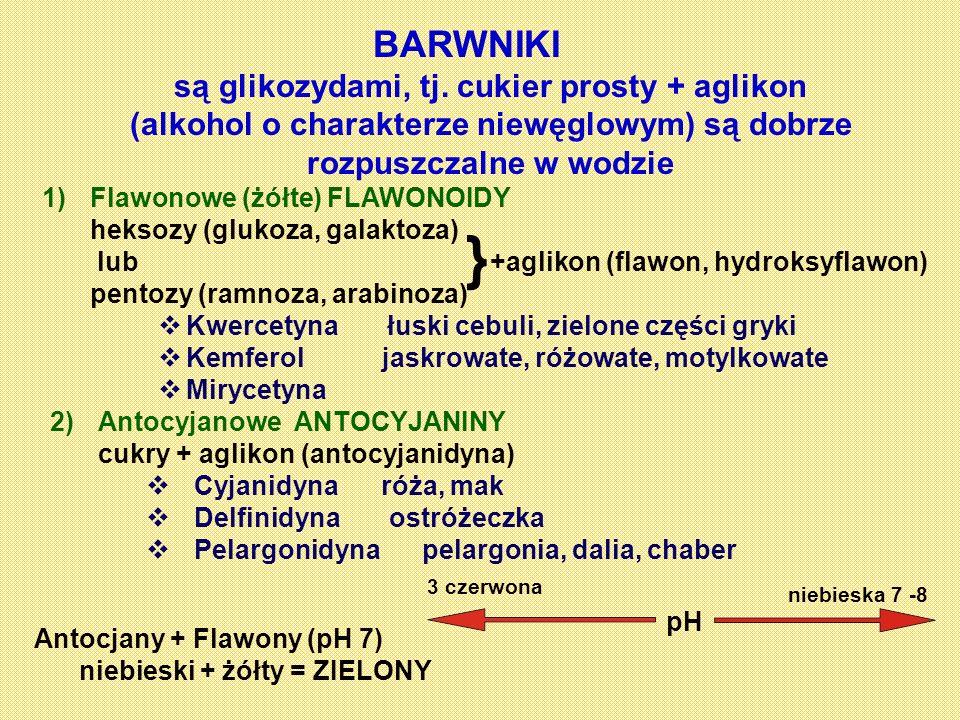 BARWNIKI są glikozydami, tj. cukier prosty + aglikon (alkohol o charakterze niewęglowym) są dobrze rozpuszczalne w wodzie 1)Flawonowe (żółte) FLAWONOI