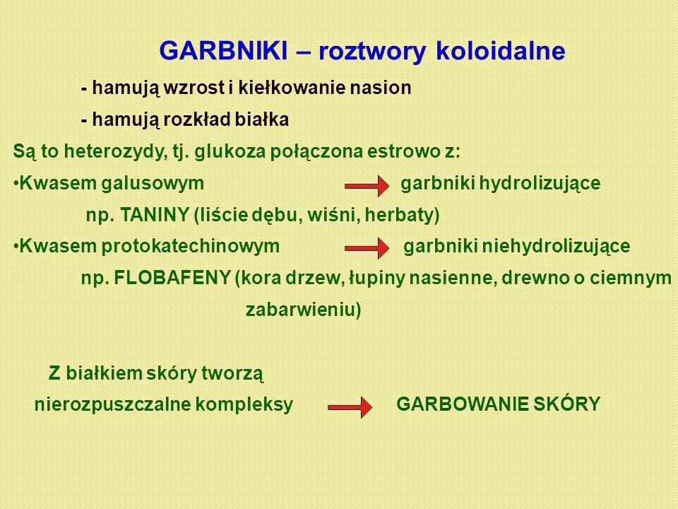 GARBNIKI – roztwory koloidalne - hamują wzrost i kiełkowanie nasion - hamują rozkład białka Są to heterozydy, tj. glukoza połączona estrowo z: Kwasem