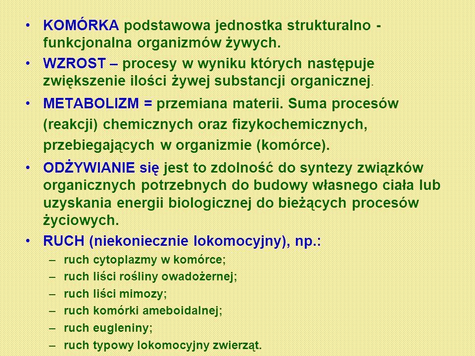 KOMÓRKA podstawowa jednostka strukturalno - funkcjonalna organizmów żywych. WZROST – procesy w wyniku których następuje zwiększenie ilości żywej subst