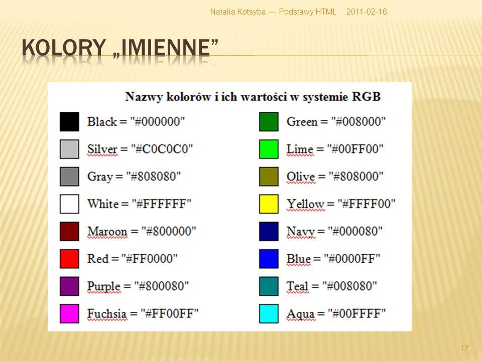2011-02-16Natalia Kotsyba --- Podstawy HTML 17