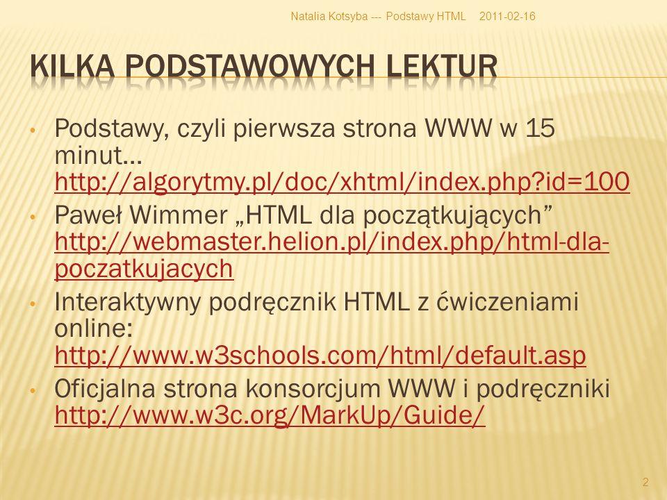 Podstawy, czyli pierwsza strona WWW w 15 minut...