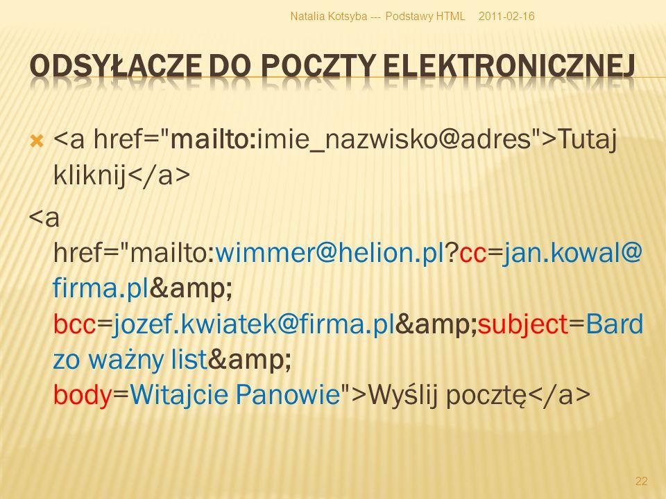 Tutaj kliknij Wyślij pocztę 2011-02-16Natalia Kotsyba --- Podstawy HTML 22