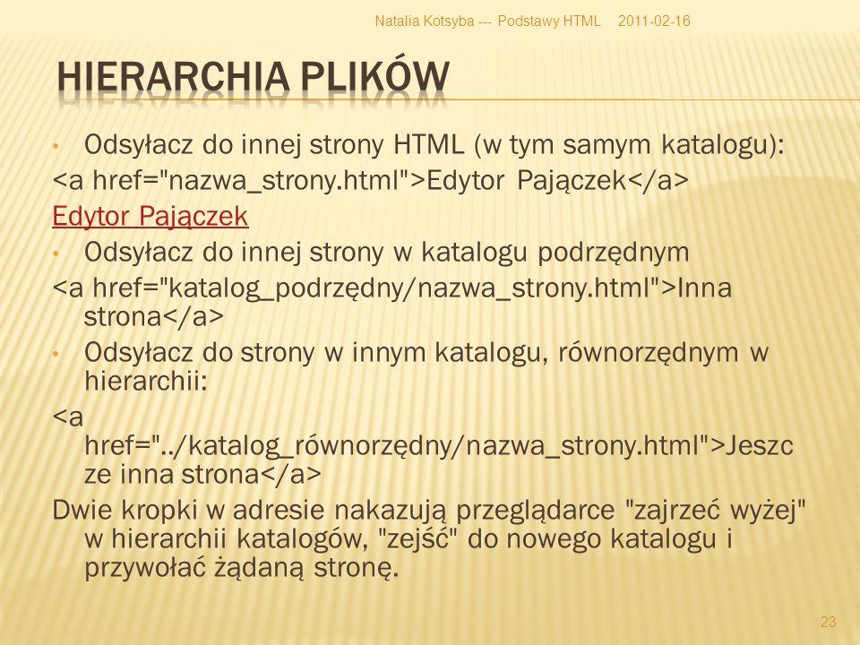 Odsyłacz do innej strony HTML (w tym samym katalogu): Edytor Pajączek Odsyłacz do innej strony w katalogu podrzędnym Inna strona Odsyłacz do strony w innym katalogu, równorzędnym w hierarchii: Jeszc ze inna strona Dwie kropki w adresie nakazują przeglądarce zajrzeć wyżej w hierarchii katalogów, zejść do nowego katalogu i przywołać żądaną stronę.