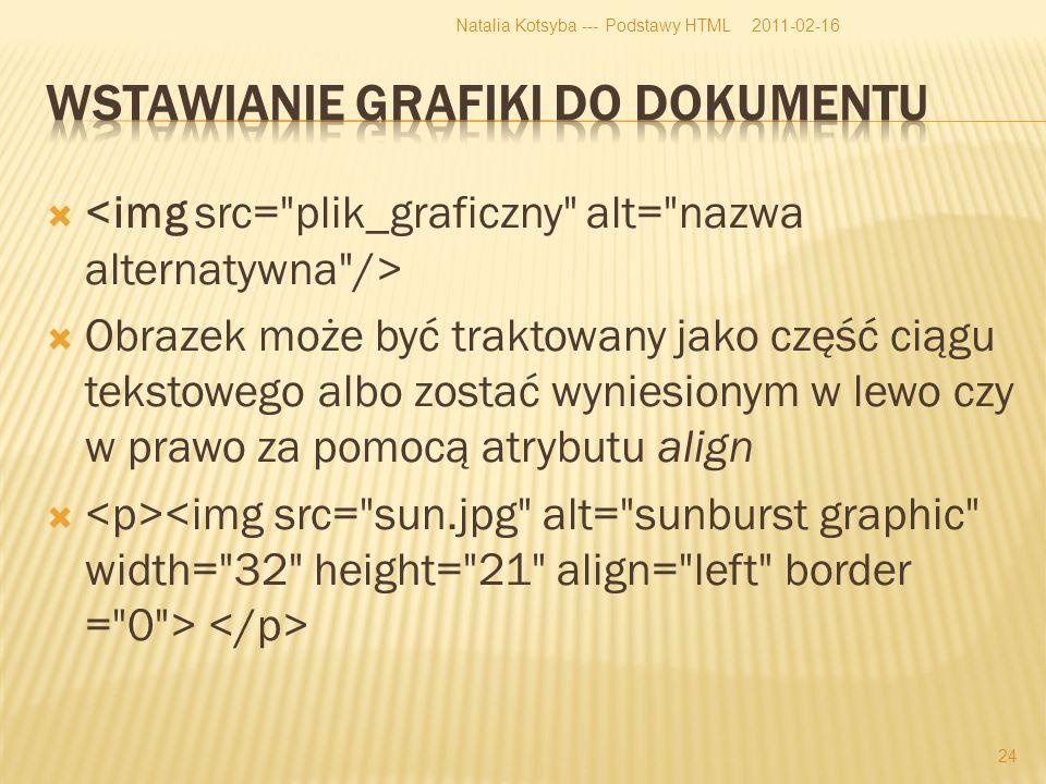 Obrazek może być traktowany jako część ciągu tekstowego albo zostać wyniesionym w lewo czy w prawo za pomocą atrybutu align 2011-02-16Natalia Kotsyba --- Podstawy HTML 24