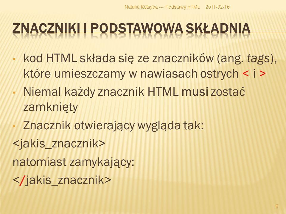 kod HTML składa się ze znaczników (ang.