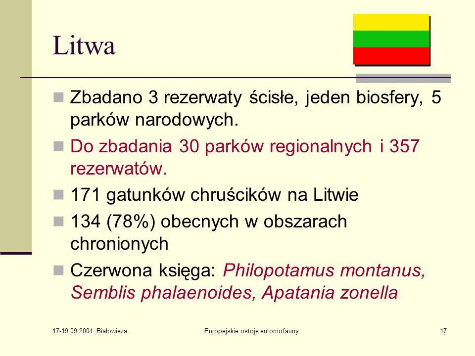 17-19.09.2004 Białowieża Europejskie ostoje entomofauny17 Litwa Zbadano 3 rezerwaty ścisłe, jeden biosfery, 5 parków narodowych.