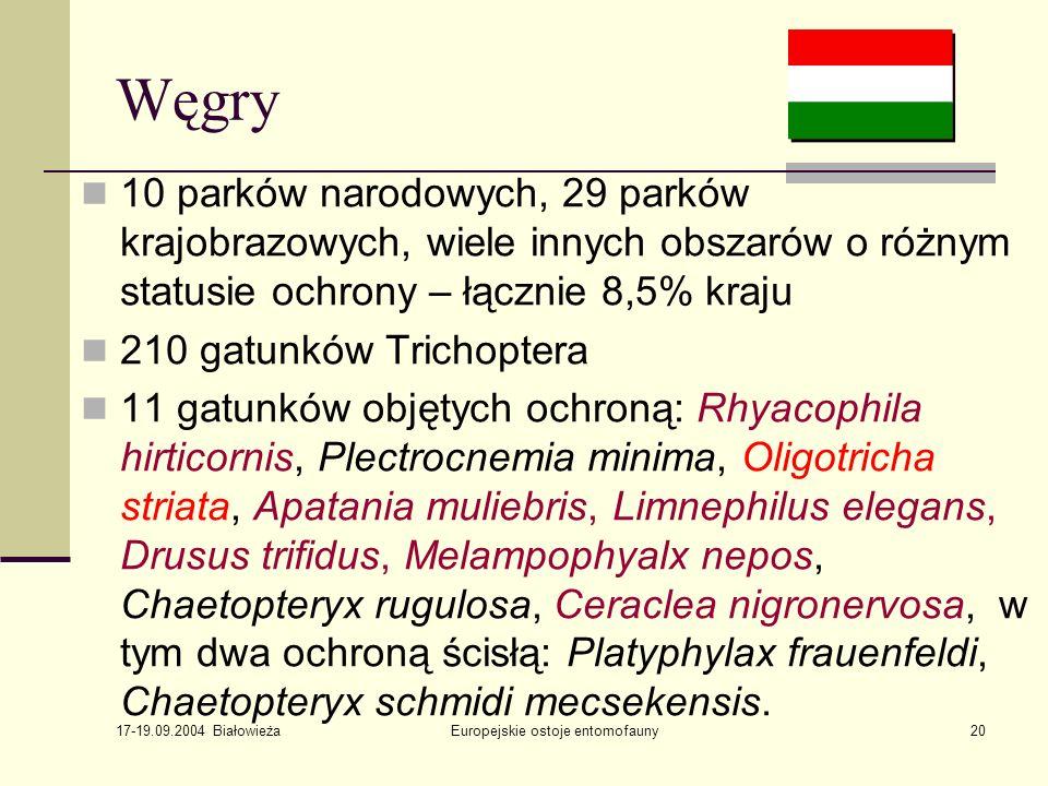 17-19.09.2004 Białowieża Europejskie ostoje entomofauny20 Węgry 10 parków narodowych, 29 parków krajobrazowych, wiele innych obszarów o różnym statusie ochrony – łącznie 8,5% kraju 210 gatunków Trichoptera 11 gatunków objętych ochroną: Rhyacophila hirticornis, Plectrocnemia minima, Oligotricha striata, Apatania muliebris, Limnephilus elegans, Drusus trifidus, Melampophyalx nepos, Chaetopteryx rugulosa, Ceraclea nigronervosa, w tym dwa ochroną ścisłą: Platyphylax frauenfeldi, Chaetopteryx schmidi mecsekensis.