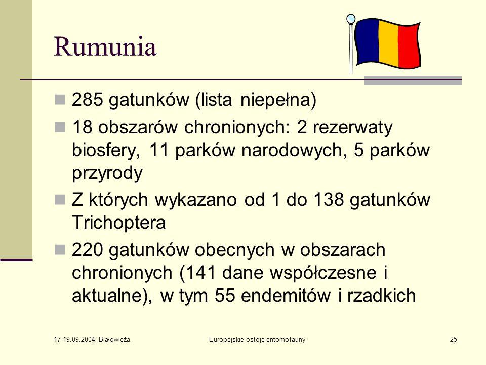 17-19.09.2004 Białowieża Europejskie ostoje entomofauny25 Rumunia 285 gatunków (lista niepełna) 18 obszarów chronionych: 2 rezerwaty biosfery, 11 parków narodowych, 5 parków przyrody Z których wykazano od 1 do 138 gatunków Trichoptera 220 gatunków obecnych w obszarach chronionych (141 dane współczesne i aktualne), w tym 55 endemitów i rzadkich
