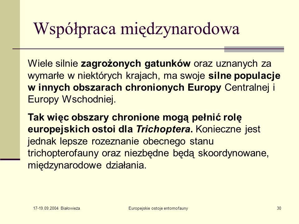 17-19.09.2004 Białowieża Europejskie ostoje entomofauny30 Współpraca międzynarodowa Wiele silnie zagrożonych gatunków oraz uznanych za wymarłe w niektórych krajach, ma swoje silne populacje w innych obszarach chronionych Europy Centralnej i Europy Wschodniej.