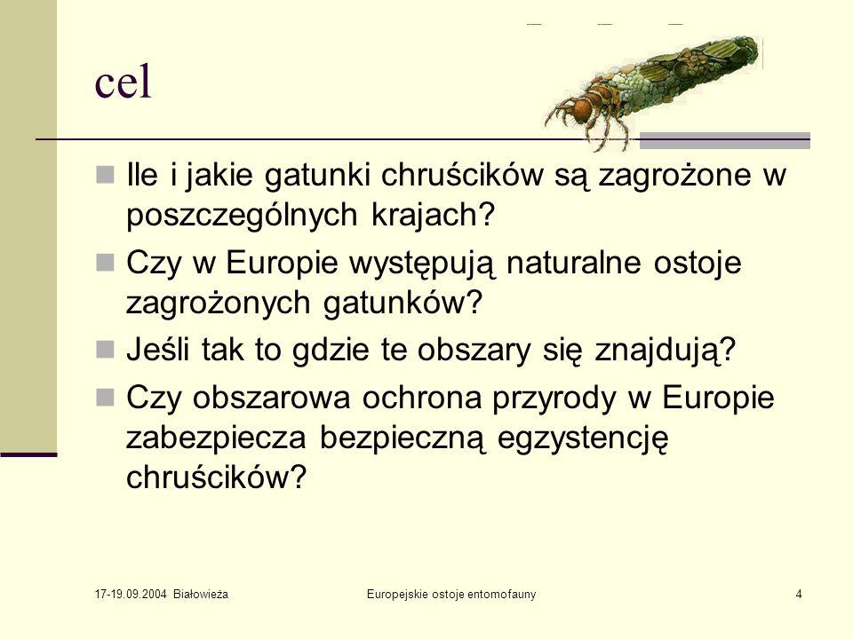 17-19.09.2004 Białowieża Europejskie ostoje entomofauny4 cel Ile i jakie gatunki chruścików są zagrożone w poszczególnych krajach.