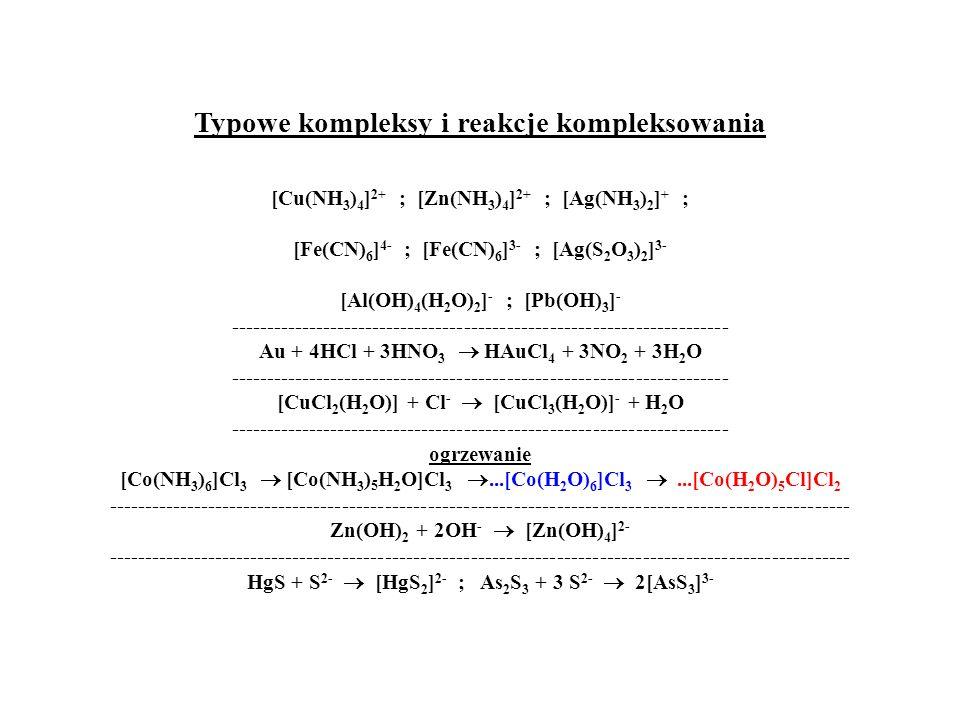Typowe kompleksy i reakcje kompleksowania [Cu(NH 3 ) 4 ] 2+ ; [Zn(NH 3 ) 4 ] 2+ ; [Ag(NH 3 ) 2 ] + ; [Fe(CN) 6 ] 4- ; [Fe(CN) 6 ] 3- ; [Ag(S 2 O 3 ) 2